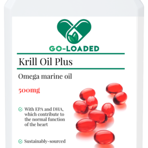 front view of krill oil bottle