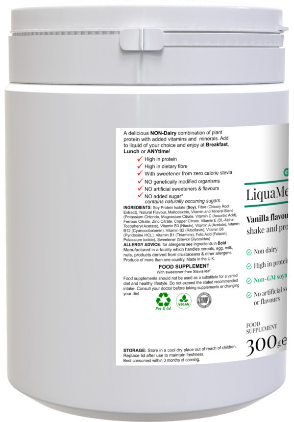 liquameal vanilla side label